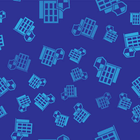 Blue House with shield icon isolated seamless pattern on blue background. Insurance concept. Security, safety, protection, protect concept. Vector .. Illustration