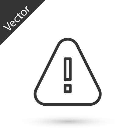 Gray line Exclamation mark in triangle icon isolated on white background. Hazard warning sign, careful, attention, danger warning sign. Vector.