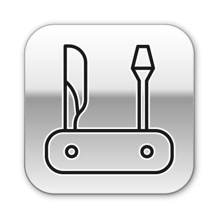 Black line Swiss army knife icon isolated on white background. Multi-tool, multipurpose penknife. Multifunctional tool. Silver square button. Vector.