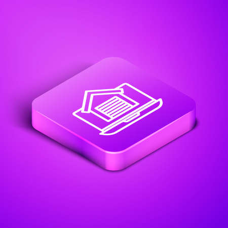 Isometric line Online real estate house on laptop icon isolated on purple background. Home loan concept, rent, buy, buying a property. Purple square button. Vector