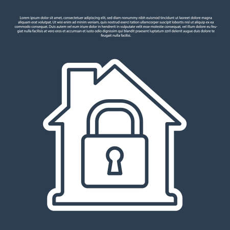 Blue line House under protection icon isolated on blue background. Home and lock. Protection, safety, security, protect, defense concept. Vector