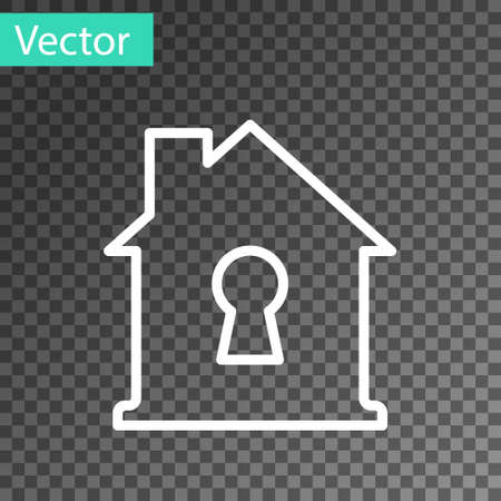 White line House under protection icon isolated on transparent background. Home and shield. Protection, safety, security, protect, defense concept. Vector.