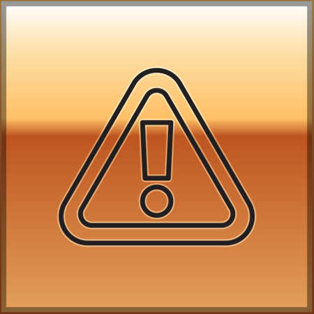 Black line Exclamation mark in triangle icon isolated on gold background. Hazard warning sign, careful, attention, danger warning sign. Vector.