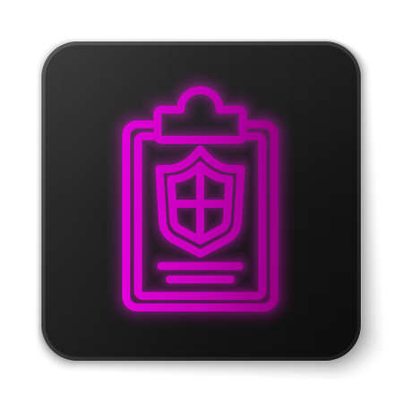 Glowing neon line Document with shield icon isolated on white background. Insurance concept. Security, safety, protection, protect concept. Black square button. Vector ..