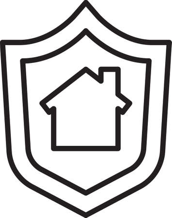 Black line House with shield icon isolated on white background. Insurance concept. Security, safety, protection, protect concept. Vector ..