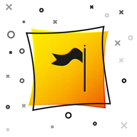 Black Meteorology windsock wind vane icon isolated on white background. Windsock indicate the direction and strength of the wind. Yellow square button. Vector Illustration 矢量图像