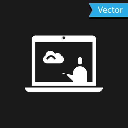 White Weather forecast icon isolated on black background. Vector Illustration