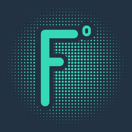 Green Fahrenheit icon isolated on blue background. Abstract circle random dots. Vector Illustration 矢量图像