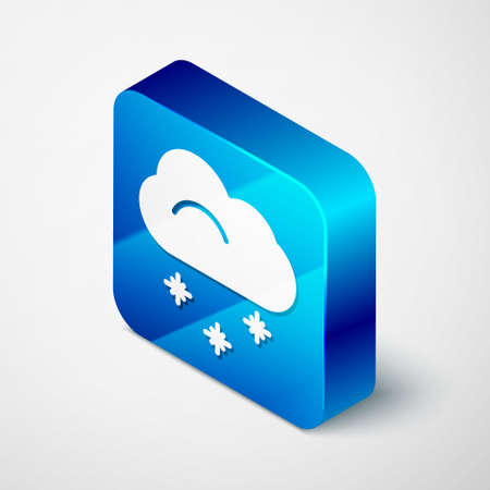 Isometric Cloud with snow icon isolated on grey background. Cloud with snowflakes. Single weather icon. Snowing sign. Blue square button. Vector Illustration