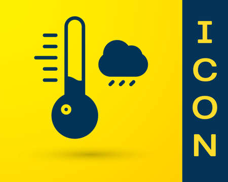 Blue Meteorology thermometer measuring icon isolated on yellow background. Thermometer equipment showing hot or cold weather. Vector Illustration