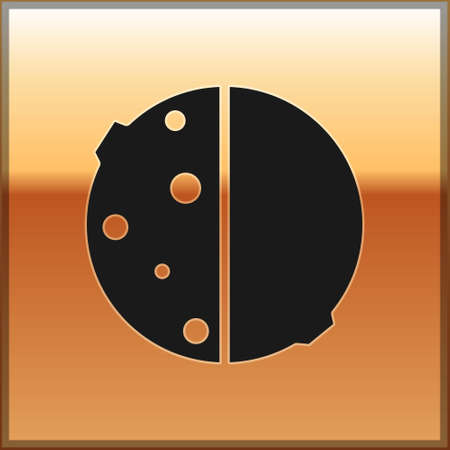 Black Eclipse of the sun icon isolated on gold background. Total sonar eclipse. Vector Illustration