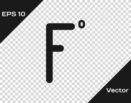 Black Fahrenheit icon isolated on transparent background. Vector Illustration 矢量图像