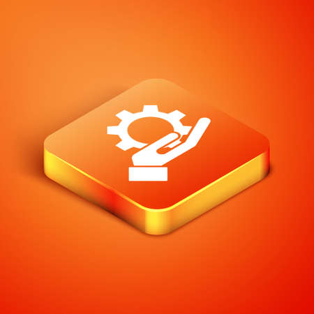 Isometric Hand settings gear icon isolated on orange background. Adjusting, service, maintenance, repair, fixing. Vector Illustration Ilustracja