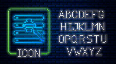 Glowing neon Search in a browser window icon isolated on brick wall background. Neon light alphabet. Vector Illustration