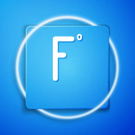 White Fahrenheit icon isolated on blue background. Blue square button. Vector Illustration