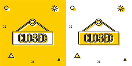 Black Hanging sign with text Closed icon isolated on yellow and white background. Business theme for cafe or restaurant. Random dynamic shapes. Vector Illustration