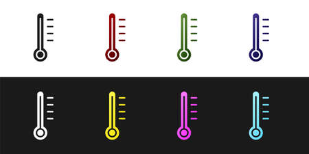 Set Meteorology thermometer measuring icon isolated on black and white background. Thermometer equipment showing hot or cold weather. Vector Illustration Ilustracja