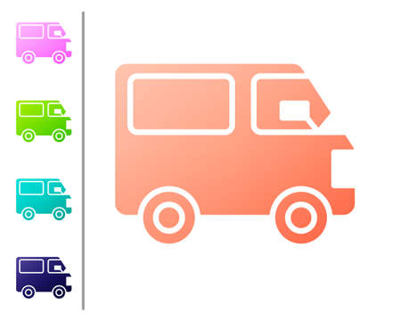 Coral Delivery cargo truck vehicle icon isolated on white background. Set color icons. Vector Illustration