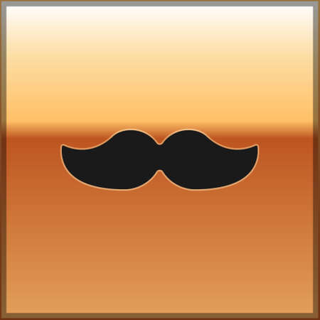 Black Mustache icon isolated on gold background. Barbershop symbol. Facial hair style. Vector Illustration