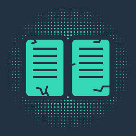 Green The commandments icon isolated on blue background. Gods law concept. Abstract circle random dots. Vector Illustration