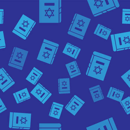 Blue Jewish torah book icon isolated seamless pattern on blue background. On the cover of the Bible is the image of the Star of David. Vector Illustration Ilustracja