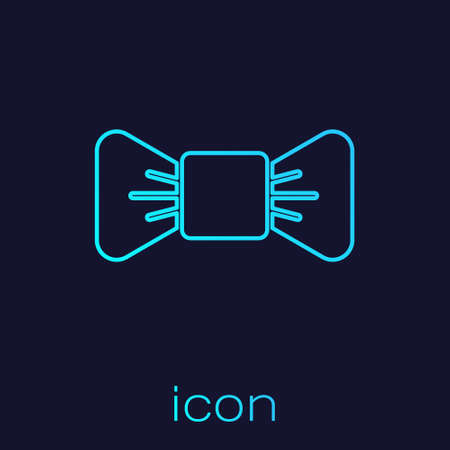 Turquoise line Bow tie icon isolated on blue background. Vector Illustration Vectores