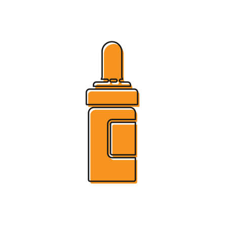 Orange Beard and mustaches care oil bottle icon isolated on white background. Glass bottle with pipette. Vector Illustration Vettoriali