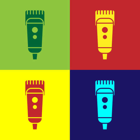 Pop art Electrical hair clipper or shaver icon isolated on color background. Barbershop symbol. Vector Illustration