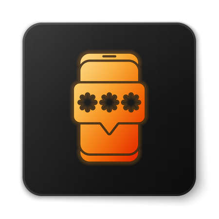 Orange glowing neon Mobile and password protection icon isolated on white background. Security, safety, personal access, user authorization, privacy. Black square button. Vector Illustration