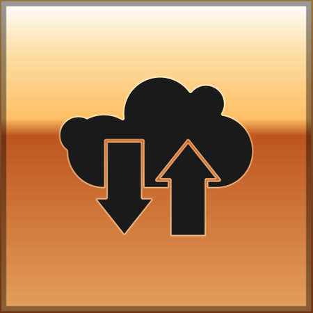 Black Cloud download and upload icon isolated on gold background. Vector Illustration