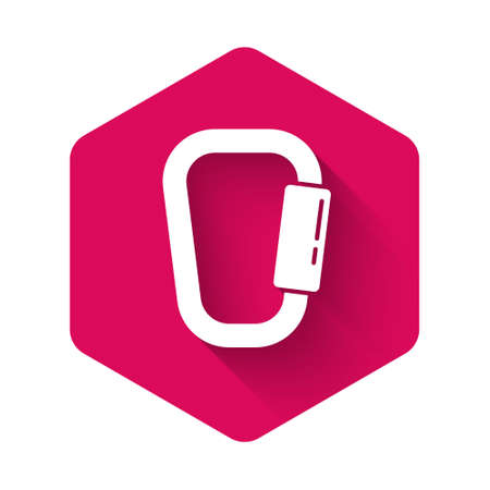White Carabiner icon isolated with long shadow. Extreme sport. Sport equipment. Pink hexagon button. Vector Illustration
