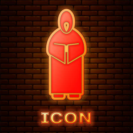 Glowing neon Monk icon isolated on brick wall background. Vector Illustration