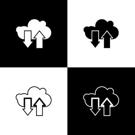 Set Cloud download and upload icon isolated on black and white background. Vector Illustration Illusztráció