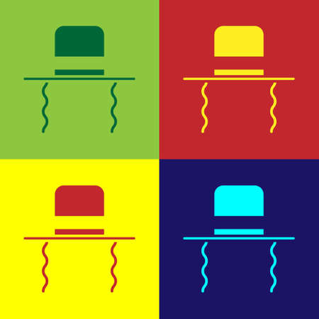 Pop art Orthodox jewish hat with sidelocks icon isolated on color background. Jewish men in the traditional clothing. Judaism symbols. Vector Illustration Vettoriali
