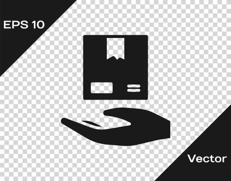 Black Delivery hand with cardboard boxes icon isolated on transparent background. Door to door delivery by courier. Vector Illustration 일러스트
