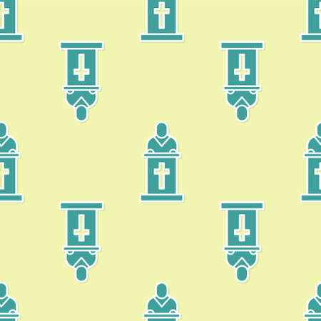 Green Church pastor preaching icon isolated seamless pattern on yellow background. Vector Illustration Vettoriali
