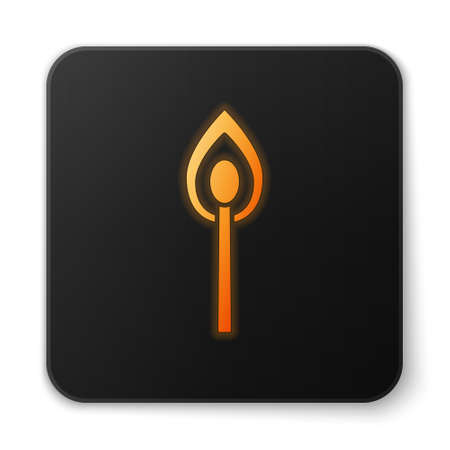 Orange glowing neon Burning match with fire icon isolated on white background. Match with fire. Matches sign. Black square button. Vector Illustration Vectores