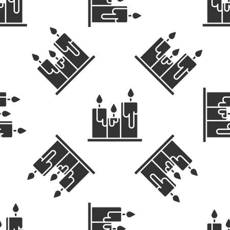Grey Burning candles icon isolated seamless pattern on white background. Cylindrical candle stick with burning flame. Vector Illustration