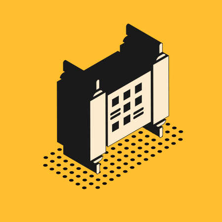 Isometric Decree, paper, parchment, scroll icon icon isolated on yellow background. Chinese scroll. Vector Illustration Illustration