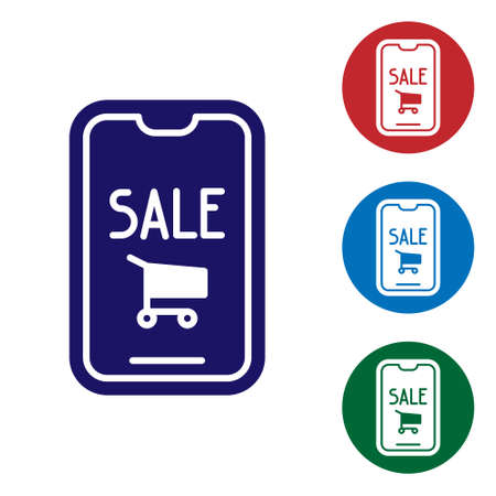 Blue Mobile phone and shopping cart icon isolated on white background. Online buying symbol. Supermarket basket symbol. Set icons in color square buttons. Vector Illustration.