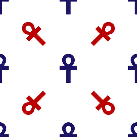 Blue and red Cross ankh icon isolated seamless pattern on white background. Vector Illustration Illusztráció