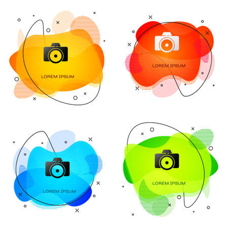 Black Photo camera icon isolated on white background. Foto camera icon. Abstract banner with liquid shapes. Vector Illustration