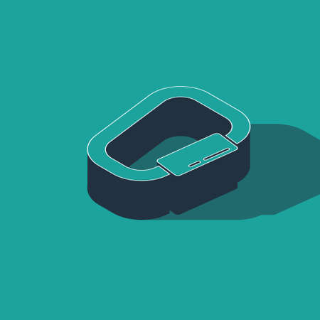 Isometric Carabiner icon isolated on green background. Extreme sport. Sport equipment. Vector Illustration 일러스트