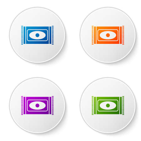 Color Traditional carpet culture ramadan arabic islamic celebration icon isolated on white background. Set icons in circle buttons. Vector Illustration