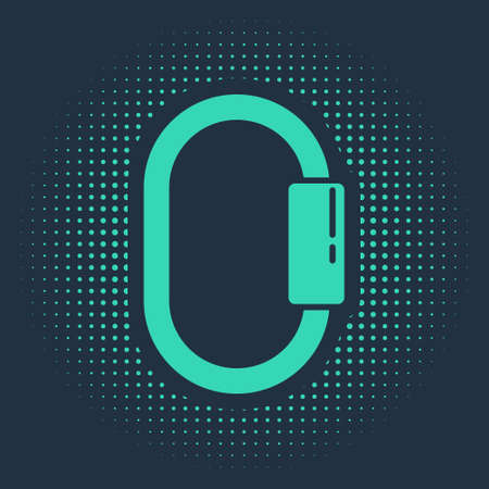 Green Carabiner icon isolated on blue background. Extreme sport. Sport equipment. Abstract circle random dots. Vector Illustration