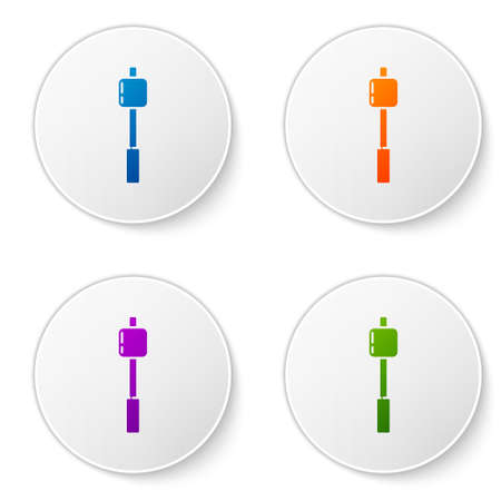 Color Marshmallow on stick icon isolated on white background. Set icons in circle buttons. Vector Illustration Vectores