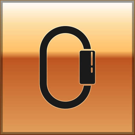 Black Carabiner icon isolated on gold background. Extreme sport. Sport equipment. Vector Illustration