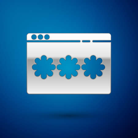 Silver Password protection and safety access icon isolated on blue background. Security, safety, protection, privacy concept. Vector Illustration