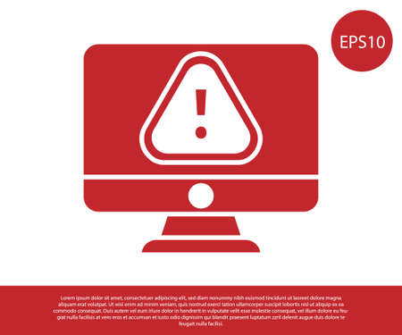 Red Computer monitor with exclamation mark icon isolated on white background. Alert message smartphone notification. Vector Illustration Vectores