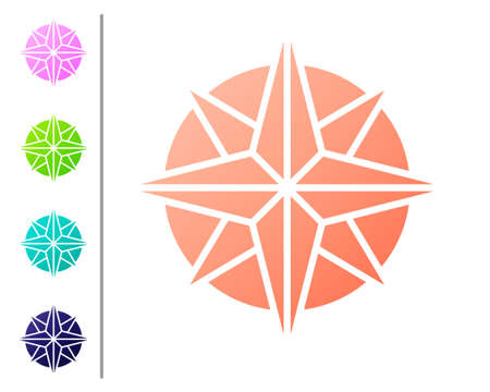Coral Wind rose icon isolated on white background. Compass icon for travel. Navigation design. Set color icons. Vector Illustration